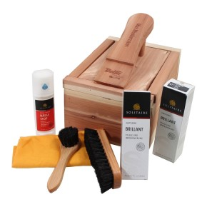 Shoe care box of cedar wood filled completely